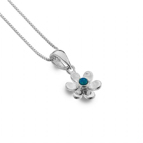 Daisy Pendant Blue Opal Sterling Silver 925 Hallmarked All Chain Lengths
